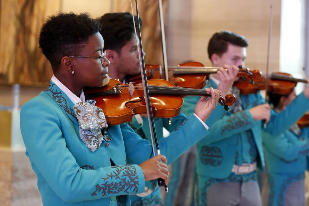 Las Vegas Academy students perform before Mayor Carolyn Goodman's State of the City address at the Las Vegas City Hall in Las Vegas, Jan. 11, 2018. Andrea Cornejo Las Vegas Review-Journal @dreacornejo