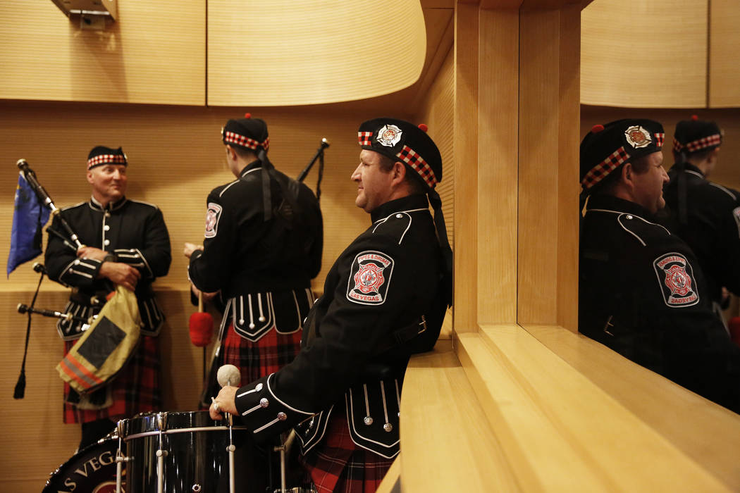 Las Vegas Firefighters Pipes and Drums members wait to perform before Mayor Carolyn Goodman's State of the City address at the Las Vegas City Council chambers in Las Vegas, Jan. 11, 2018. Andrea C ...