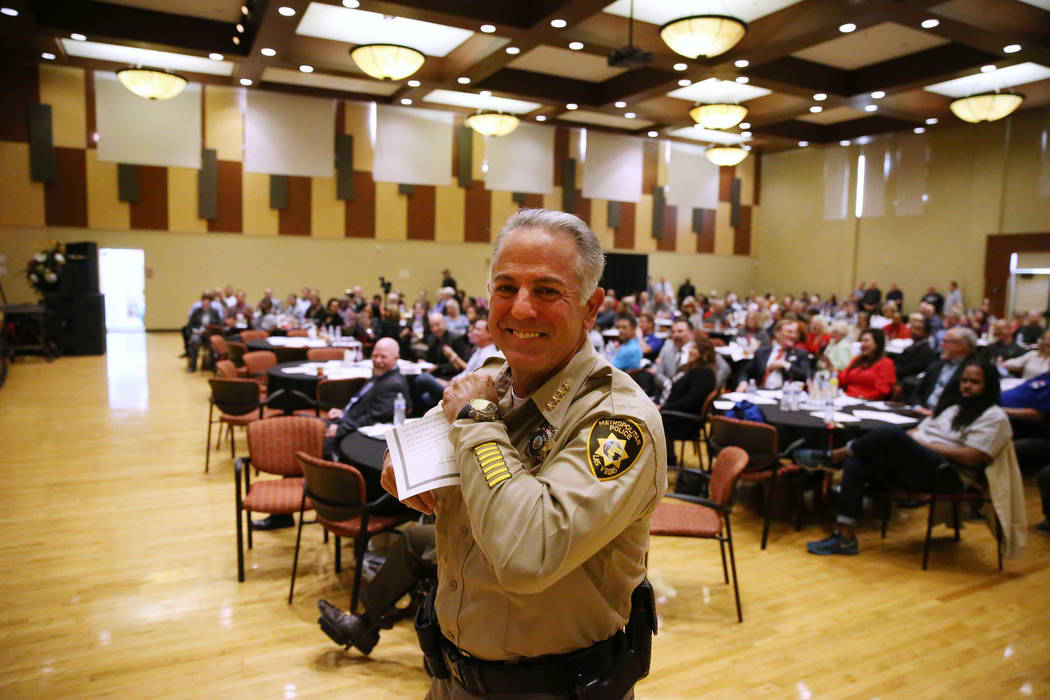 Sheriff Joe Lombardo walks to the stage for his speech during the City Wide Unity Celebration at the Historic Fifth Street School in Las Vegas, Saturday, Jan. 13, 2018. Erik Verduzco Las Vegas Rev ...