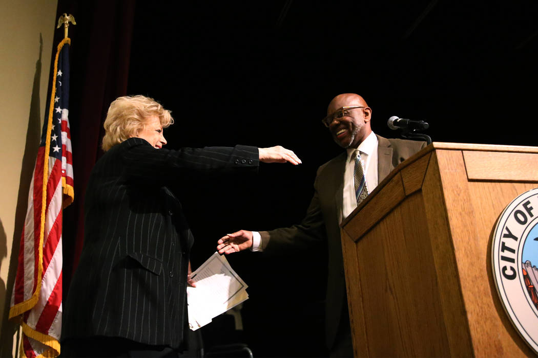 Las Vegas Mayor Carolyn Goodman, left, and Pastor Mike Hatch during the City Wide Unity Celebration at the Historic Fifth Street School in Las Vegas, Saturday, Jan. 13, 2018. Erik Verduzco Las Veg ...