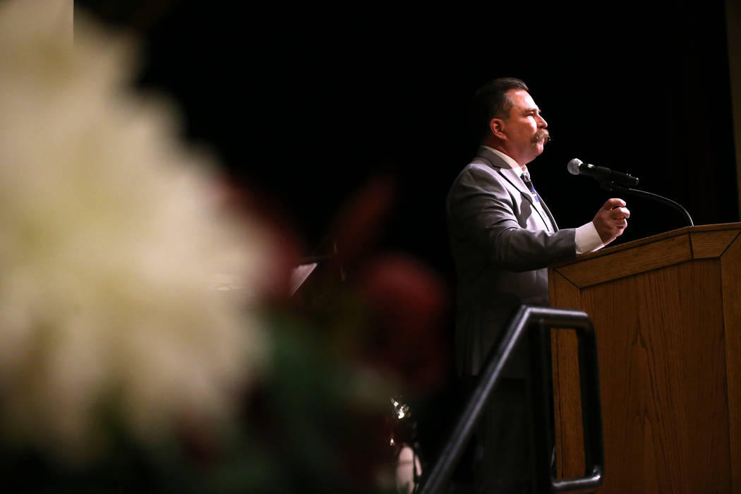 Pastor Troy Martinez during the City Wide Unity Celebration at the Historic Fifth Street School in Las Vegas, Saturday, Jan. 13, 2018. Erik Verduzco Las Vegas Review-Journal @Erik_Verduzco