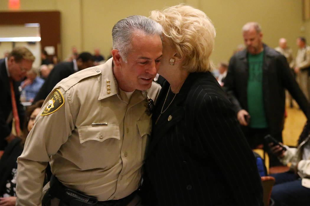 Sheriff Joe Lombardo, left, and Las Vegas Mayor Carolyn Goodman during the City Wide Unity Celebration at the Historic Fifth Street School in Las Vegas, Saturday, Jan. 13, 2018. Erik Verduzco Las  ...