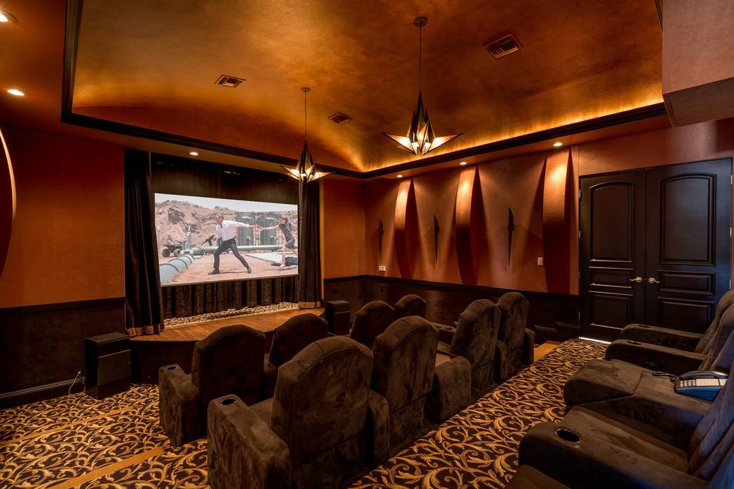 The in-home theater at 9511 Kings Gate Court in Las Vegas. The 15,816-square-foot house sold for $6.5 million in 2017. (Luxury Estates International)