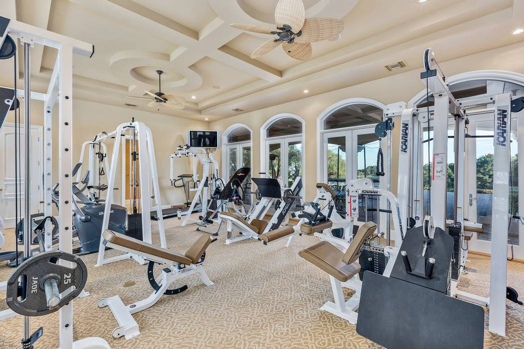 The fitness room at 9511 Kings Gate Court in Las Vegas. The 15,816-square-foot house sold for $6.5 million in 2017. (Luxury Estates International)