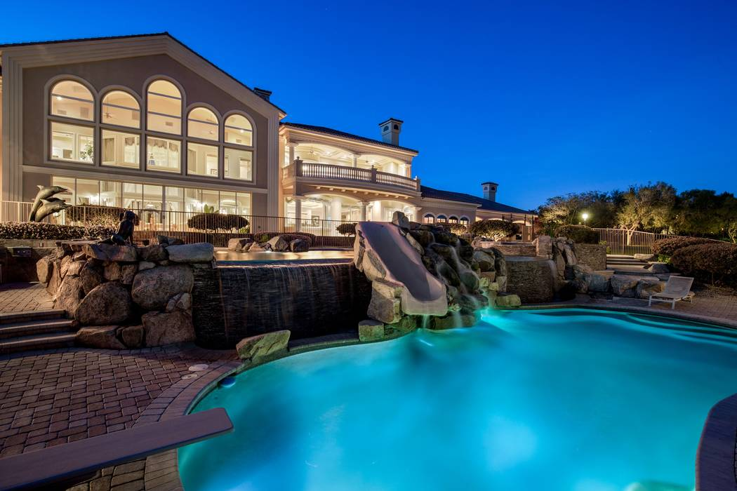 The backyard of 9511 Kings Gate Court in Las Vegas. The mansion sold for $6.5 million in 2017. (Luxury Estates International)