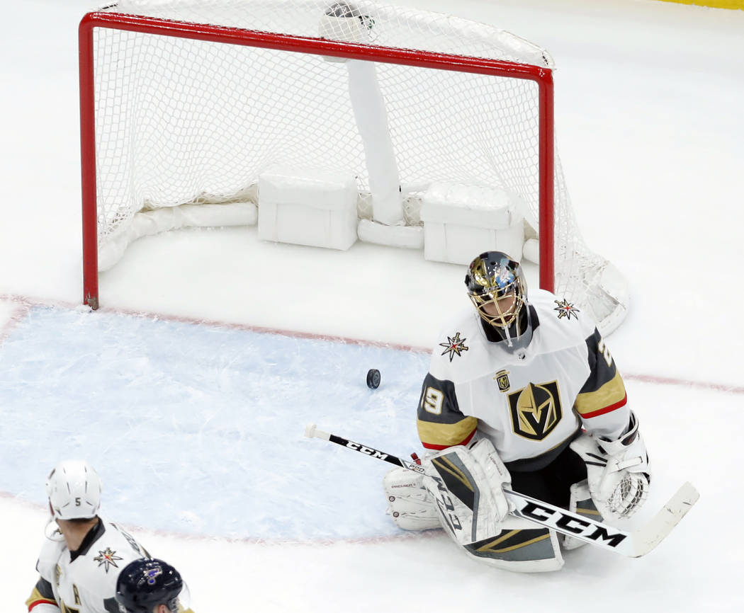 Vegas Golden Knights goaltender Marc-Andre Fleury pauses after giving up a goal to St. Louis Blues' Alexander Steen during the first period of an NHL hockey game Thursday, Jan. 4, 2018, in St. Lou ...
