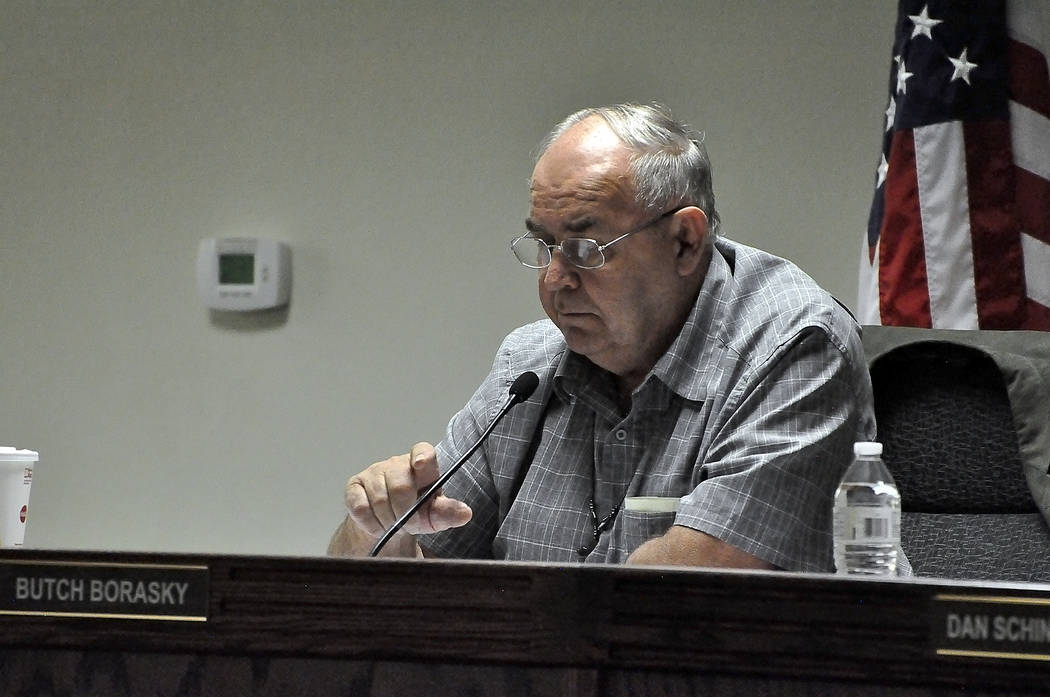 """At the end of the commissioners' meeting on Nov. 21, 2017, Nye County Commissioner Andrew """"Butch"""" Borasky made an announcement that he had """"a gut feeling"""" that brothel owner Dennis Hof a ..."""