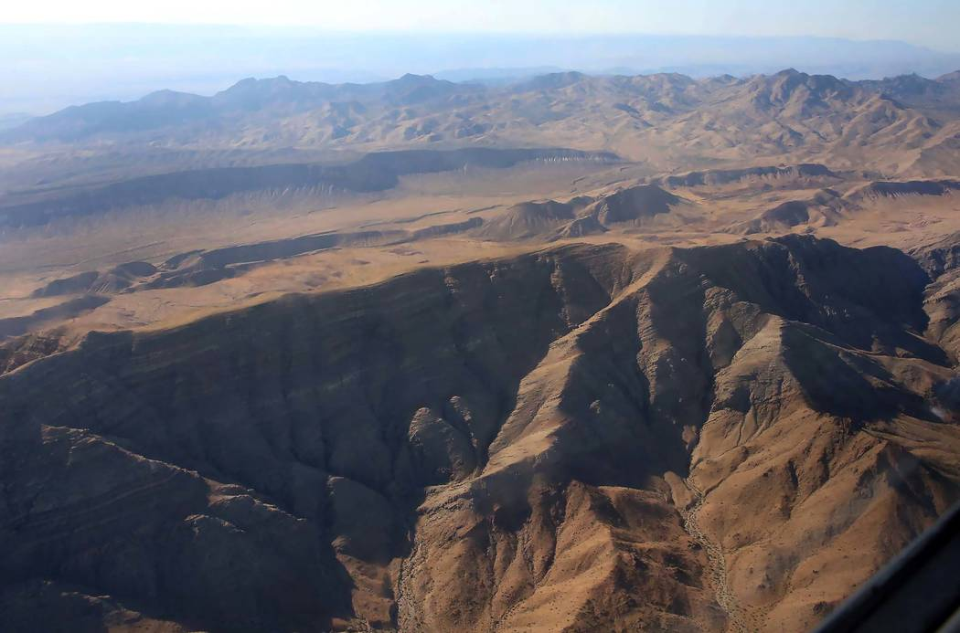 An aerial photo of Tramp Ridge in Gold Butte National Monument on Friday, July 21, 2017. (Bizuayehu Tesfaye Las Vegas Review-Journal)