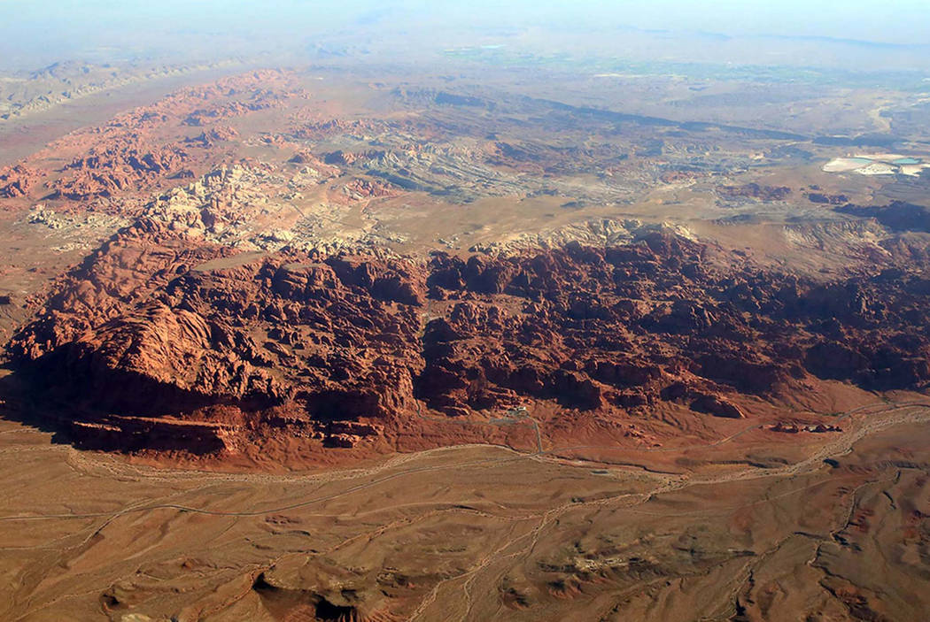 An aerial photo of Hidden Valley in Gold Butte National Monument on Friday, July 21, 2017. (Bizuayehu Tesfaye Las Vegas Review-Journal)