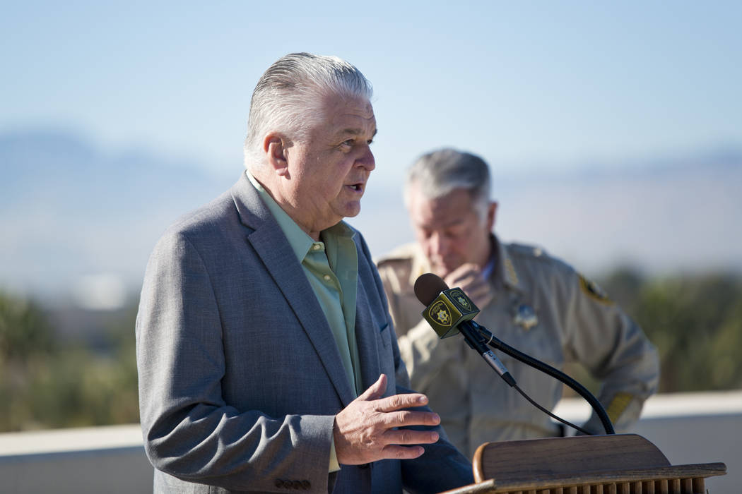 Clark County Commissioner Steve Sisolak talks about New Year's Eve security during a news conference at Metropolitan Police Department Headquarters in Las Vegas Wednesday, Dec. 27, 2017. Daniel Cl ...
