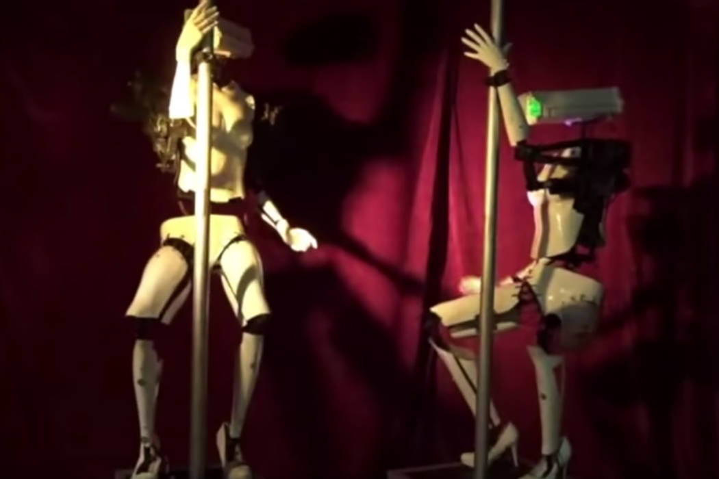 Pole-dancing dancing robots created by U.K. artist Giles Walker will be on display at Sapphire Las Vegas next week during the Consumer Electronics Show. (Screenshot/Sapphire Youtube)
