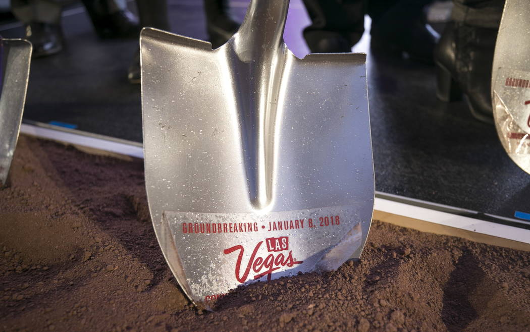 A shovel sits in dirt during a groundbreaking ceremony for a new convention hall at the site where Riviera hotel-casino once stood on Monday, Jan. 8, 2018. Richard Brian Las Vegas Review-Journal @ ...