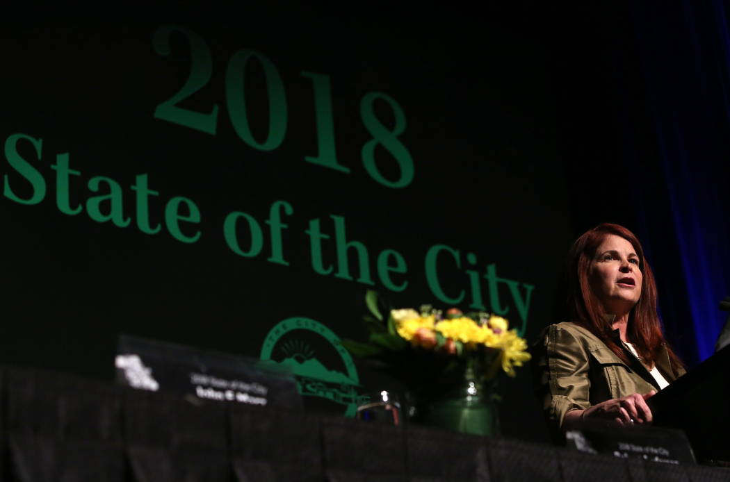 Henderson Mayor Debra March delivers the 2018 State of the City address at a luncheon on Monday, Jan. 10, 2018, in Henderson. Bizuayehu Tesfaye/Las Vegas Review-Journal @bizutesfaye