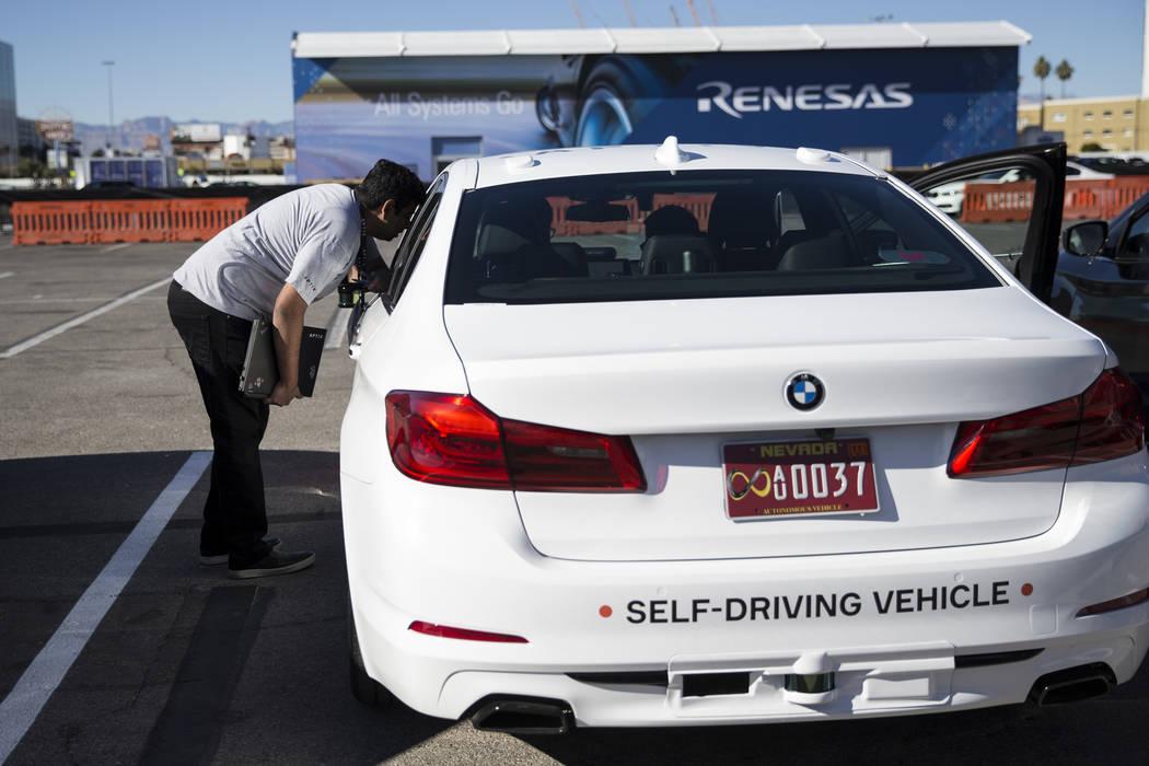 Aptiv and Lyft showcase their autonomous vehicle outside of the Las Vegas Convention Center in advance of CES in Las Vegas, Sunday, Jan. 7, 2018. Erik Verduzco/Las Vegas Review-Journal