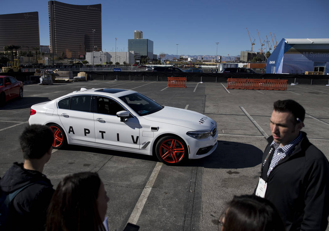 An Aptiv and Lyft autonomous vehicle outside of the Las Vegas Convention Center in advance of CES in Las Vegas, Sunday, Jan. 7, 2018. Erik Verduzco/Las Vegas Review-Journal