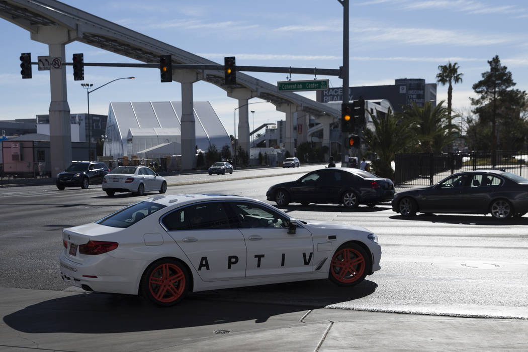An Aptiv and Lyft autonomous vehicle outside takes the road outside of the Las Vegas Convention Center in advance of CES in Las Vegas, Sunday, Jan. 7, 2018. Erik Verduzco/Las Vegas Review-Journal