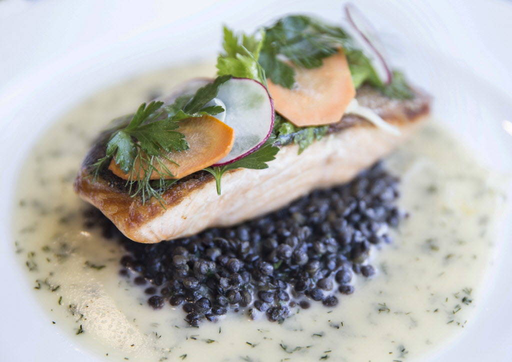 Crispy skin salmon with beluga lentils, shaved fennel salad and citrus herb beurre blanc at Hell's Kitchen on Sunday, January 7, 2018, at Caesars Palace hotel-casino, in Las Vegas. Benjamin Hager  ...