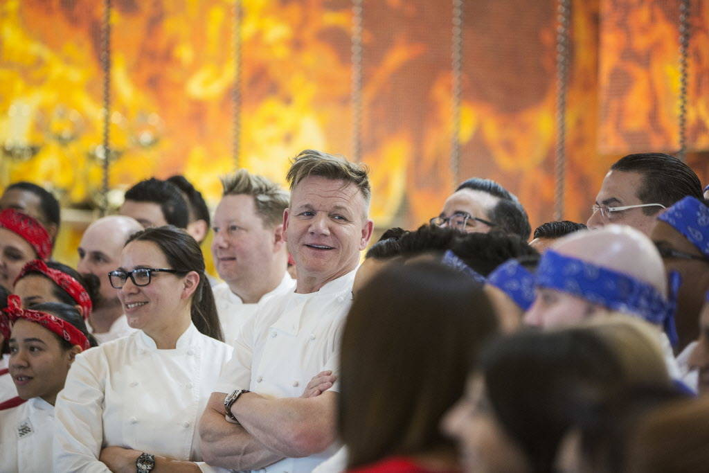 Celebrity chef Gordon Ramsay interacts with staff at his new Strip restaurant Hell's Kitchen on Sunday, January 7, 2018, at Caesars Palace hotel-casino, in Las Vegas. Benjamin Hager Las Vegas Revi ...