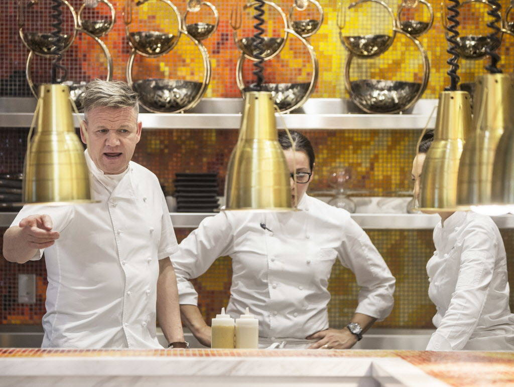 Celebrity chef Gordon Ramsay does a walk through at the site of his fifth Strip restaurant Hell's Kitchen on Sunday, January 7, 2018, at Caesars Palace hotel-casino, in Las Vegas. Benjamin Hager L ...