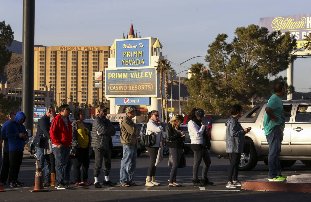 Customers stand in line to buy lottery tickets at The Lotto Store at Primm just inside the California border next to the Primm Valley Casino Resorts on Friday, January 5, 2017.  Richard Brian Las  ...