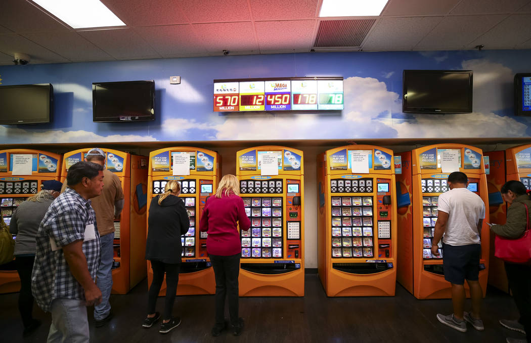 Customers buy lottery tickets at The Lotto Store at Primm just inside the California border next to the Primm Valley Casino Resorts on Friday, January 5, 2017. Richard Brian Las Vegas Review-Journ ...
