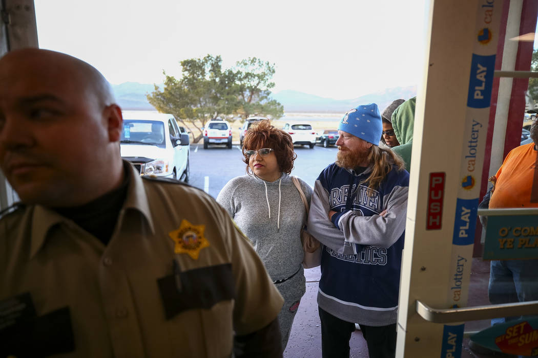 Mark and Cruz Smith of Las Vegas wait their turn to enter The Lotto Store at Primm just inside the California border next to the Primm Valley Casino Resorts on Friday, January 5, 2017. Richard Bri ...