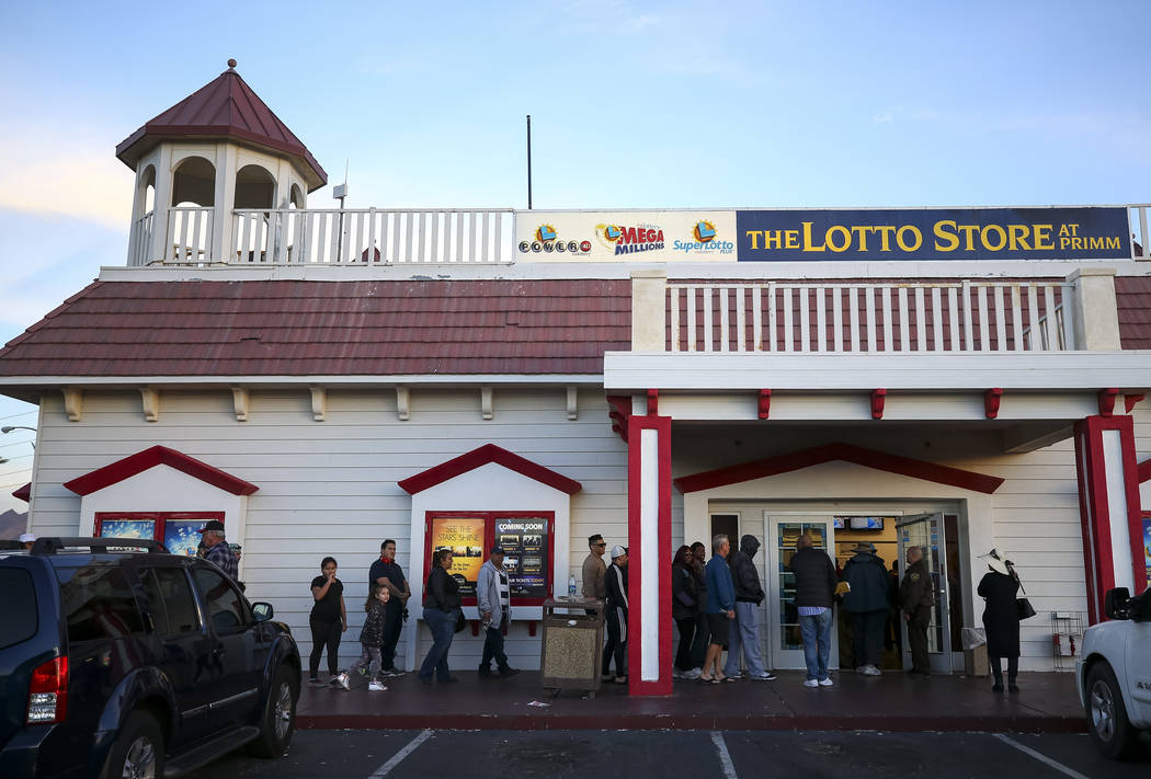 Customers line up to buy lottery tickets at The Lotto Store at Primm just inside the California border next to the Primm Valley Casino Resorts on Friday, January 5, 2017. Richard Brian Las Vegas R ...