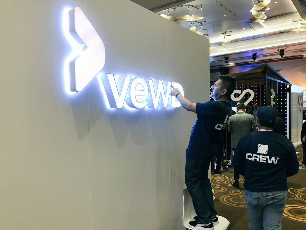 Crews finish up work on VEWD exhibit area on Monday, Jan. 8, 2018, in Las Vegas, Nev., in preparation for CES. Todd Prince/Las Vegas Review-Journal