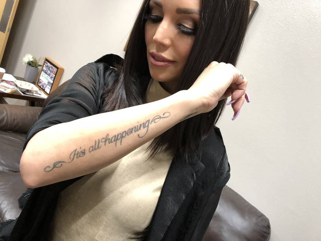 "Scheana Shay shows off her tattoo inspired by ""Almost Famous"" on Jan. 3, 2018. (John Katsilometes/Las Vegas Review-Journal) @JohnnyKats"