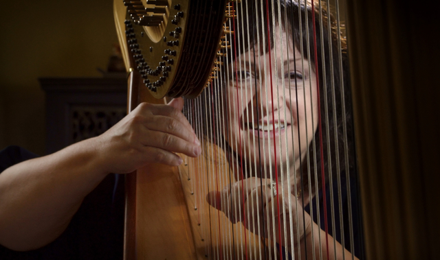 Harpist Kim Glennie is shown with one of her instruments at her Las Vegas home. (Bill Hughes/Las Vegas Review-Journal)