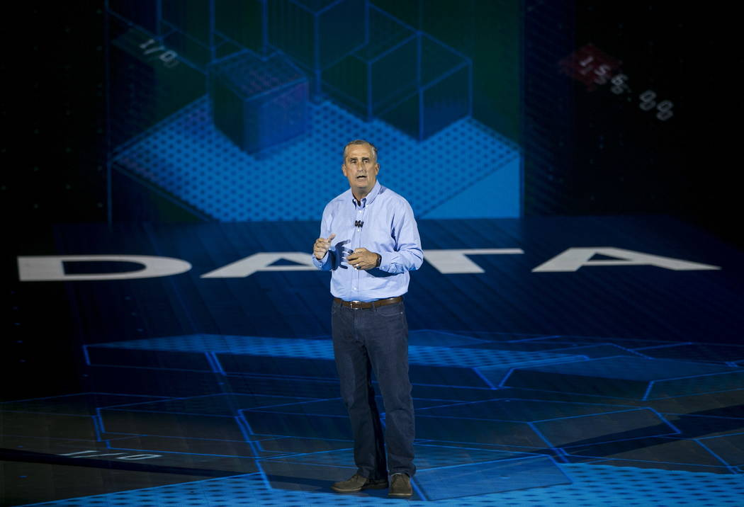 Intel CEO Brian Krzanich speaks during the CES keynote at Monte Carlo's Park Theater in Las Vegas, Monday, Jan. 8, 2018. Richard Brian Las Vegas Review-Journal @vegasphotograp