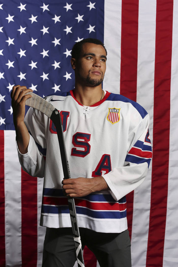 United States Olympic Winter Games ice hockey's Jordan Greenway poses for a portrait at the 2017 Team USA Media Summit Monday, Sept. 25, 2017, in Park City, Utah. (AP Photo/Rick Bowmer)
