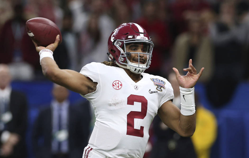 Alabama quarterback Jalen Hurts (2)passes in the second half of the Sugar Bowl semi-final playoff game against Clemson for the NCAA college football national championship, in New Orleans, Monday,  ...