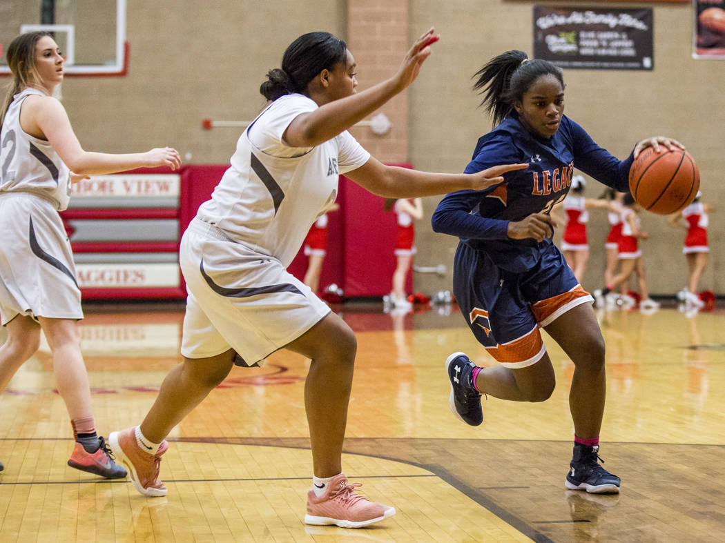 Legacy's Maiah Yearwood attempts to out dribble Arbor View players at Arbor View High School on Thursday, Jan. 11, 2018. Legacy won 53-39. Patrick Connolly Las Vegas Review-Journal @PConnPie