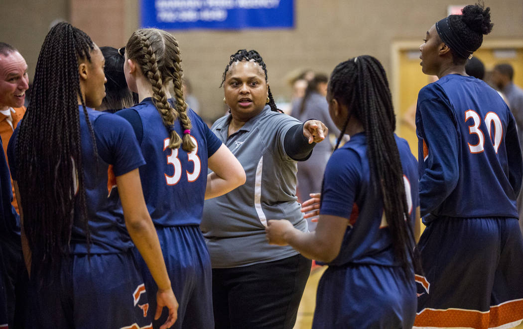 Legacy coach Tiffany Richardson talks to her players during a timeout at Arbor View High School on Thursday, Jan. 11, 2018. Legacy won 53-39. Patrick Connolly Las Vegas Review-Journal @PConnPie