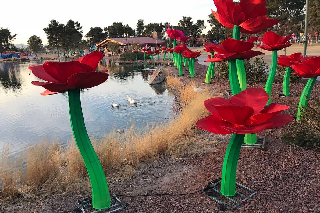 Spring flowers arrive a little early as setup continues for the China Lights event at Craig Ranch Regional Park in this photo taken Jan. 1, 2018. The event will run Jan. 19-Feb. 25. (Greg Haas/Las ...