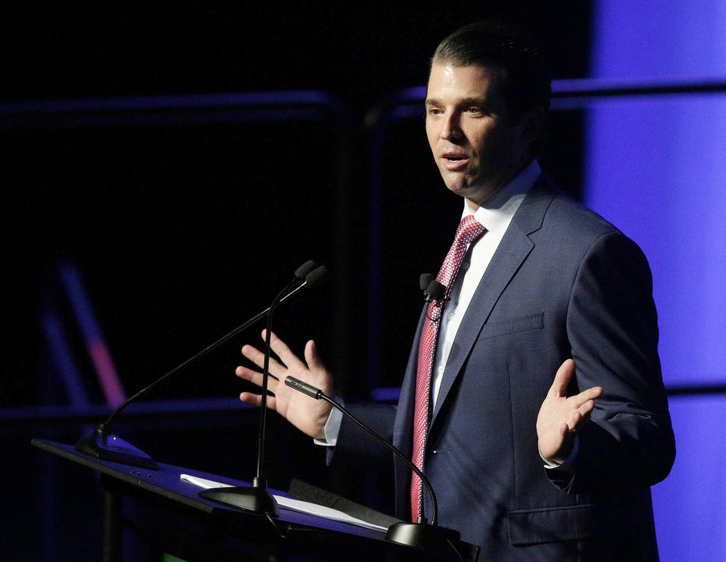 In this Oct. 5, 2017, file photo, Donald Trump Jr. speaks during a fundraiser for Faulkner University in Montgomery, Ala. (AP Photo/Brynn Anderson, File)