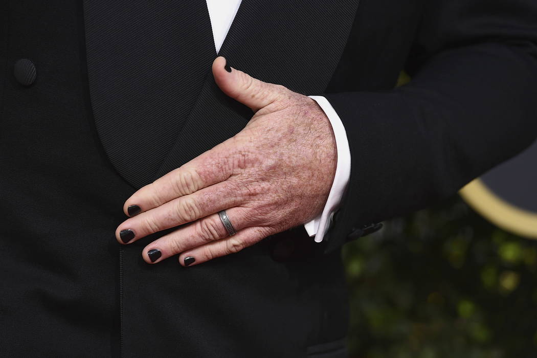 Chris Sullivan Wears Black Nail Polish As He Arrives At The 75th Annual Golden Globe Awards At The Beverly Hilton Hotel On Sunday Jan 7 2018 In Beverly Hills Calif Photo By