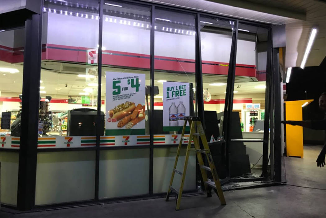 A crash damaged the 7-Eleven convenience store at 4325 Sahara Ave. in Las Vegas on Sunday, Jan. 7, 2018. (Blake Apgar/Las Vegas Review-Journal)
