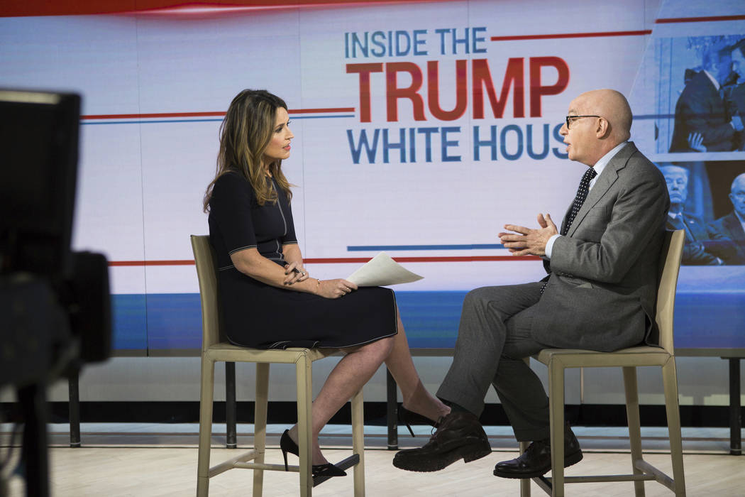"This photo provided by NBC shows Savannah Guthrie interviewing Michael Wolff on the ""Today Show""  in New York, Friday, Jan. 5, 2018.  (Nathan Congleton/NBC Universal via AP)"