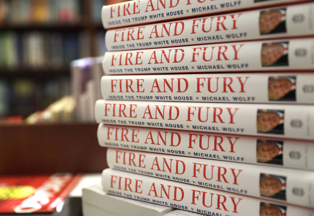 "Copies of the book ""Fire and Fury: Inside the Trump White House"" by Michael Wolff are displayed at Barbara's Books Store, Friday, Jan. 5, 2018, in Chicago. (Charles Rex Arbogast/AP)"