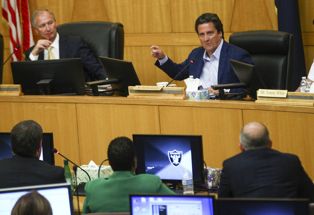 Las Vegas Stadium Authority Chairman Steve Hill, left, and board member Bill Hornbuckle during a board meeting at the Clark County Government Center in Las Vegas on Thursday, Aug. 17, 2017. (Chase ...