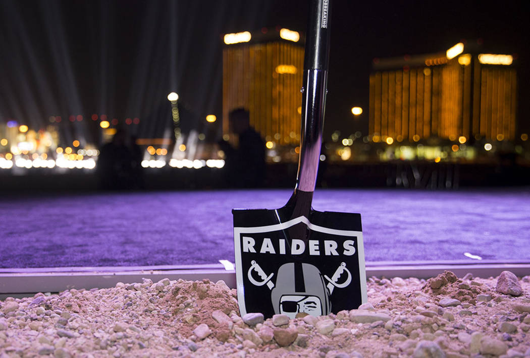 A ceremonial shovel at the site of the future Raiders stadium during the groundbreaking ceremony in Las Vegas, Monday, Nov. 13, 2017. Erik Verduzco Las Vegas Review-Journal)