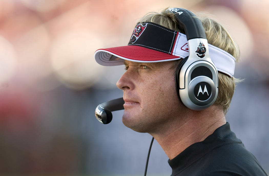 In this Dec. 28, 2008 photo, Tampa Bay Buccaneers head coach Jon Gruden watches the game with the Oakland Raiders during their NFL football game in Tampa, Fla.  (AP Photo/Steve Nesius)