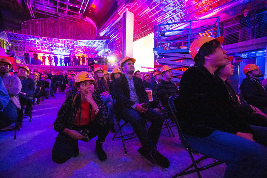 Attendees listen to a presentation in the main gaming area of the soon-to-be-completed eSports Arena on Wednesday, Jan. 10, 2018, at the Luxor in Las Vegas. (Benjamin Hager/Las Vegas Review-Journa ...
