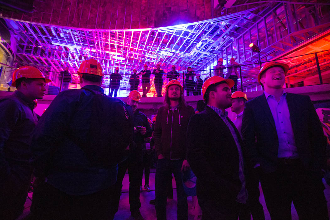 Attendees listen to a presentation in the main gaming area of the soon-to-be-completed eSports Arena on Wednesday, January 10, 2018, at the Luxor hotel-casino, in Las Vegas. Benjamin Hager Las Veg ...