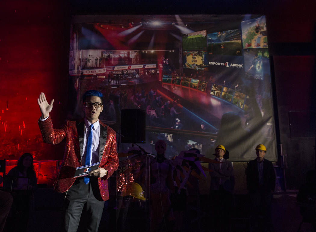 "eSports personality Dan ""Frodan"" Chou entertains the crowd during a presentation in the main gaming area of the soon-to-be-completed eSports Arena at the Luxor hotel-casino on We ..."