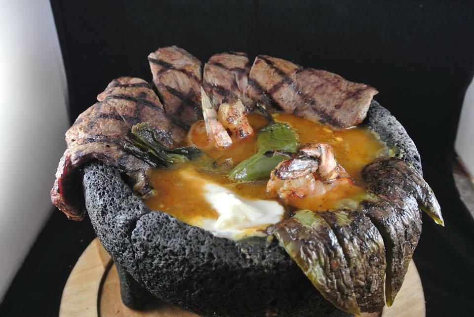 The molcajete de carne is served like a soup. (Leticia's)