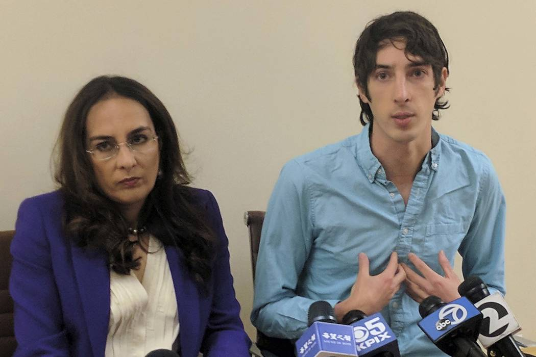 James Damore, right, a former Google engineer fired in 2017 after writing a memo about the biological differences between men and women, speaks at a news conference while his attorney, Harmeet Dhi ...