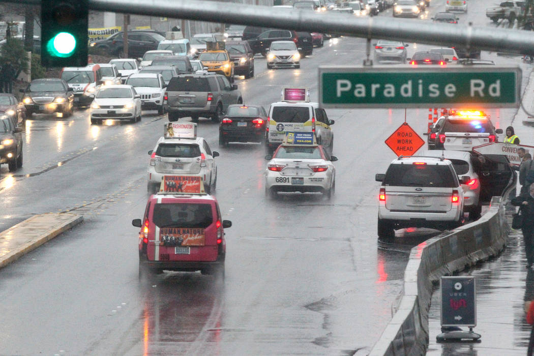 Traffic is shown on Convention Center Drive at Paradise Road at the Las Vegas Convention Center on the first day of the CES, Tuesday, Jan. 10, 2018. (K.M. Cannon/Las Vegas Review-Journal) @KMCanno ...